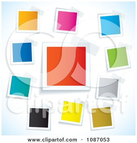 Clipart Taped Colorful Square Tags - Royalty Free Vector Illustration by michaeltravers