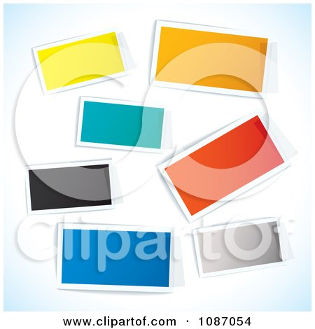 Clipart Taped Colorful Rectangle Tags - Royalty Free Vector Illustration by michaeltravers