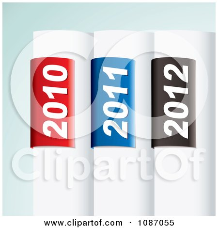 Clipart 3d White Tabs With 2010 2011 And 2012 Year Labels - Royalty Free Vector Illustration by michaeltravers