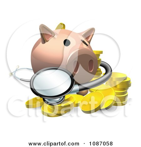 Clipart 3d Investment Piggy Bank With A Stethoscope And Coins - Royalty Free Vector Illustration by AtStockIllustration