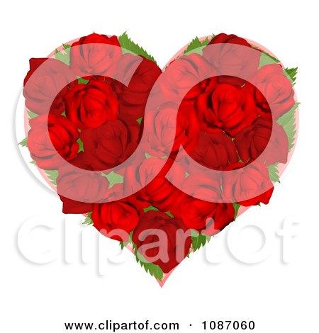 Clipart 3d Red Rose Heart - Royalty Free Vector Illustration by AtStockIllustration