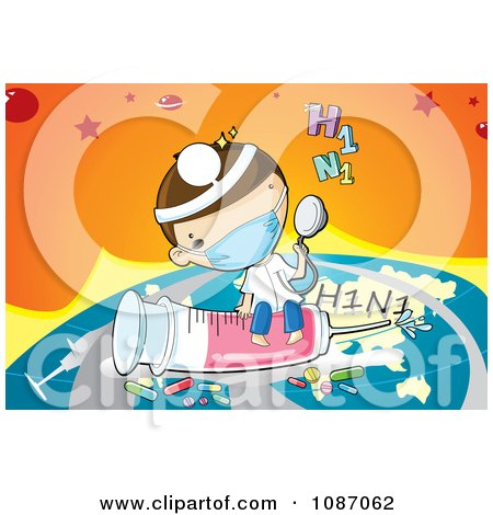 Clipart Doctor Flying Around The World With A H1N1 Flu Syringe And Medicine - Royalty Free Vector Illustration by mayawizard101