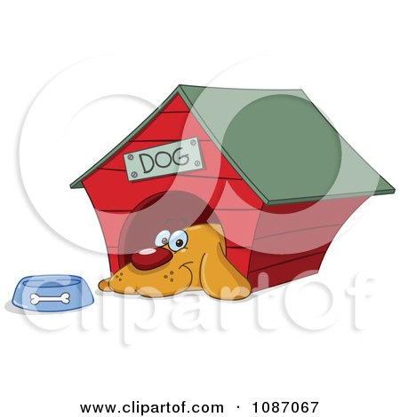 Clipart Happy Dog By His Bowl In His House - Royalty Free Vector Illustration by yayayoyo