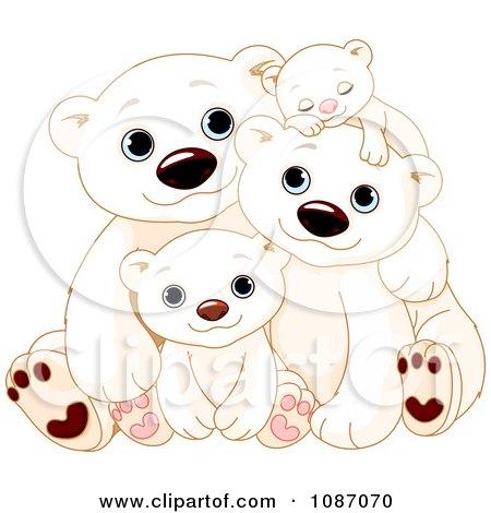 Clipart Happy Polar Bear Family Cuddling - Royalty Free Vector Illustration by Pushkin