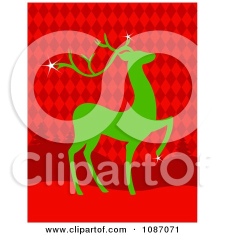 Clipart Green Christmas Reindeer Over Red Argyle And Trees - Royalty Free Vector Illustration by Pushkin