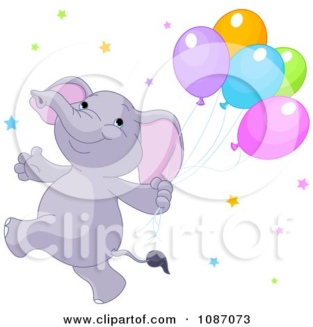 Clipart Happy Purple Elephant Running With Balloons And Stars - Royalty Free Vector Illustration by Pushkin