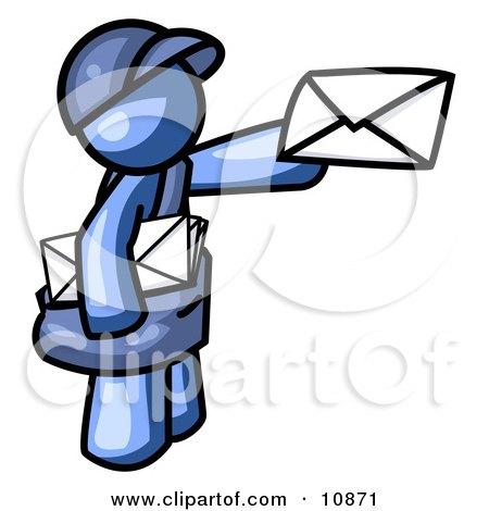Blue Mail Man Delivering a Letter Clipart Illustration by Leo Blanchette