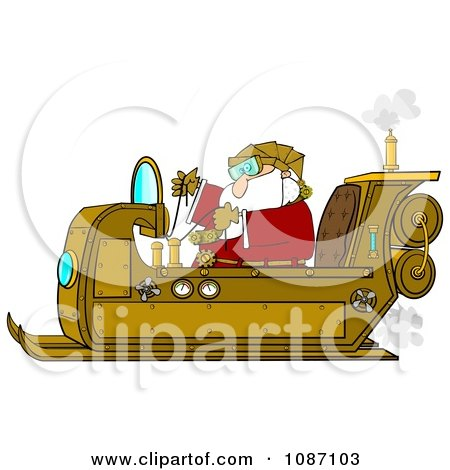 Clipart Steampunk Santa In His Sleigh - Royalty Free Illustration by djart