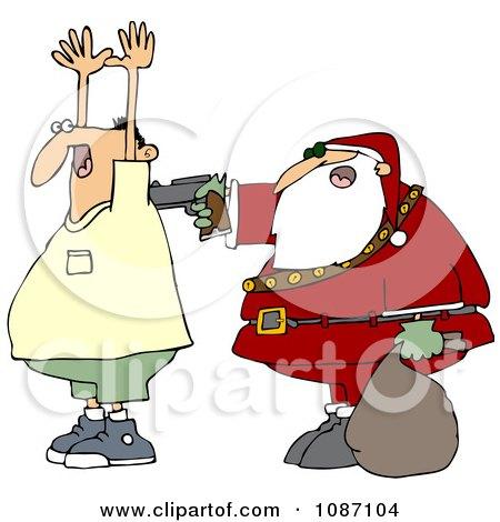 Clipart Santa Robbing A Man - Royalty Free Vector Illustration by djart