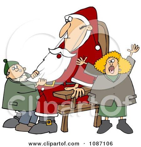 Clipart Kids Pulling On A Fake Santas Beard - Royalty Free Vector Illustration by djart