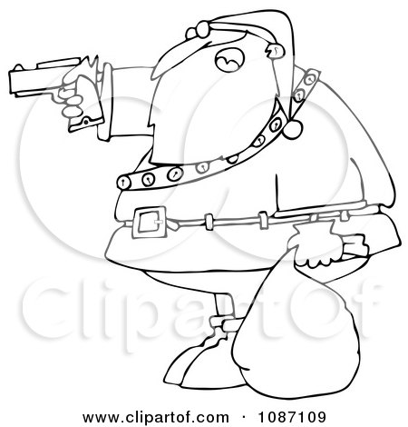 Clipart Outlined Santa Aiming A Gun - Royalty Free Vector Illustration by djart