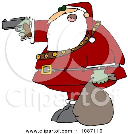 Clipart Santa Aiming A Gun - Royalty Free Vector Illustration by djart