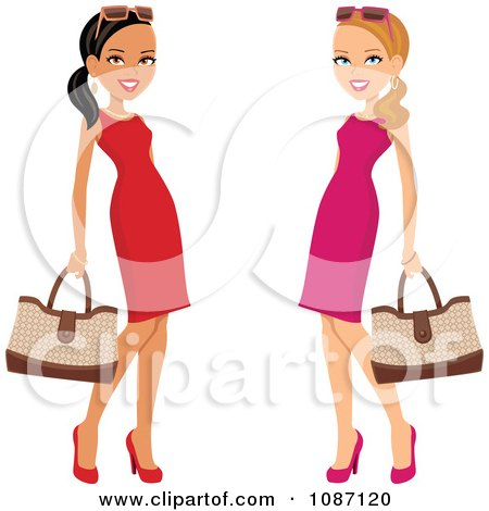 Clipart Hispanic And Caucasian Ladies Posing In Dresses With Purses - Royalty Free Vector Illustration by Monica