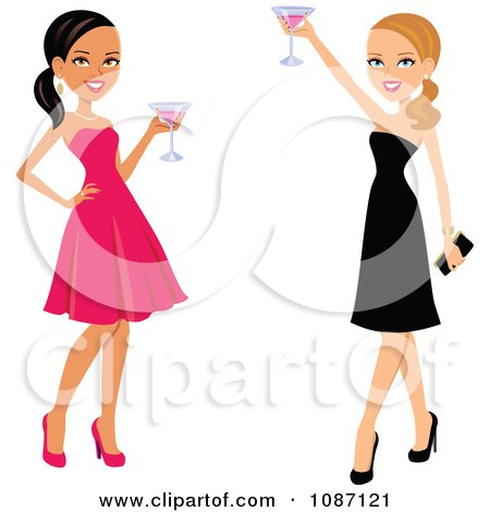 Clipart Black And White Women Toasting In Dresses - Royalty Free Vector Illustration by Monica