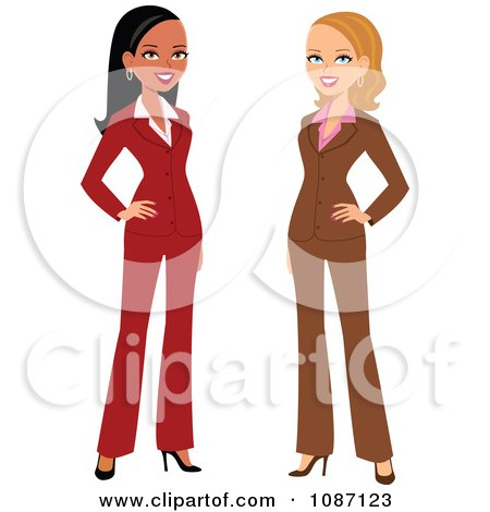 Black And White Businesswomen Posing In Their Suits Posters, Art Prints