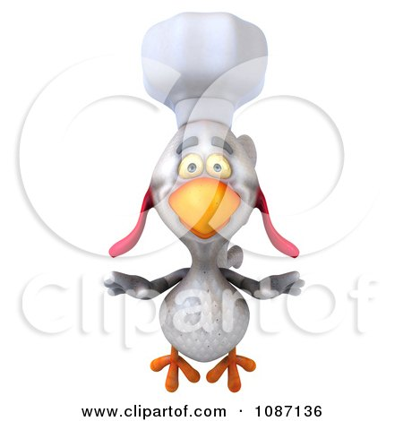 3d White Chef Chicken Flying Forward Posters, Art Prints