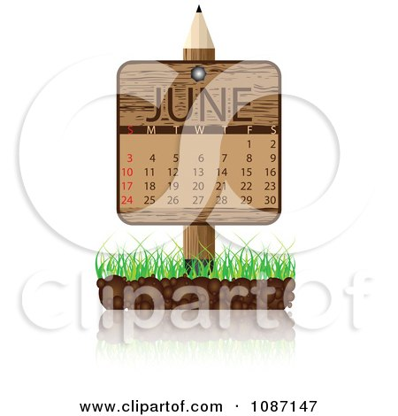 Clipart Wooden Pencil June Calendar Sign With Soil And Grass