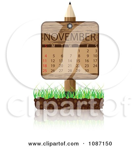 Clipart Wooden Pencil NOVEMBER Calendar Sign With Soil And Grass - Royalty Free Vector Illustration by Andrei Marincas