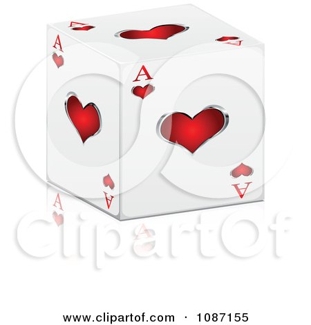Clipart 3d Ace Of Hearts Cube With A Reflection - Royalty Free Vector Illustration by Andrei Marincas