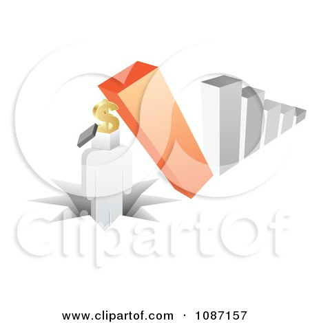 Clipart 3d Crashing Bar Graph Pounding A Person With A Dollar Box Head - Royalty Free Vector Illustration by Andrei Marincas