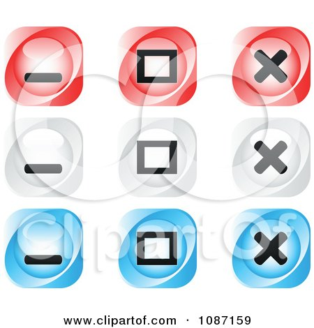 Clipart Red White And Blue Website Browser Buttons - Royalty Free Vector Illustration by Andrei Marincas