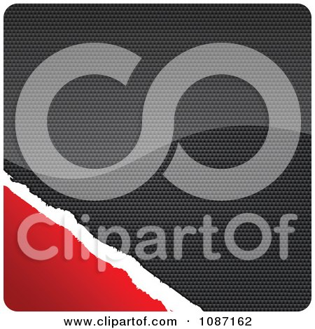 Clipart Carbon And Torn Red Paper Rounded Square - Royalty Free Vector Illustration by Andrei Marincas
