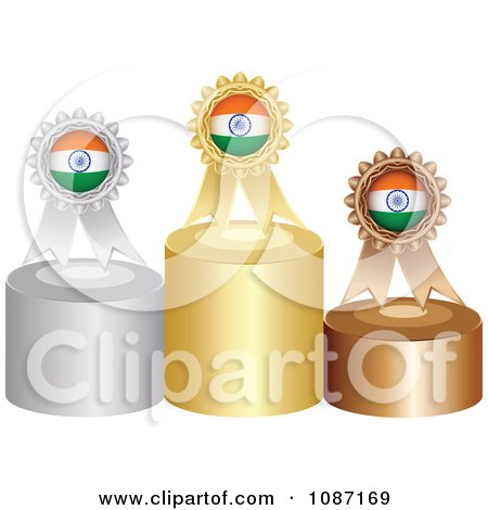Clipart Indian Rosette Award Ribbons On Podiums - Royalty Free Vector Illustration by Andrei Marincas