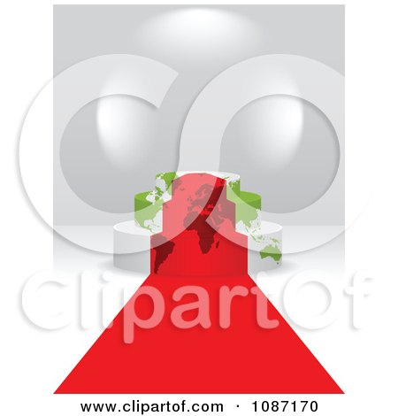 Clipart 3d Red Carpet Leading To A Map Podium - Royalty Free Vector Illustration by Andrei Marincas