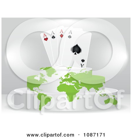 Clipart Ace Playing Cards On A Map Podium - Royalty Free Vector Illustration by Andrei Marincas