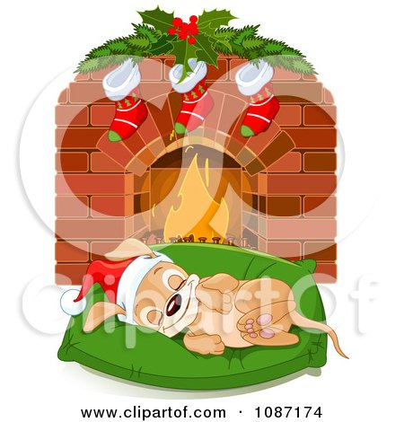 Clipart Cute Christmas Puppy Sleeping On A Bed By A Fireplace - Royalty Free Vector Illustration by Pushkin