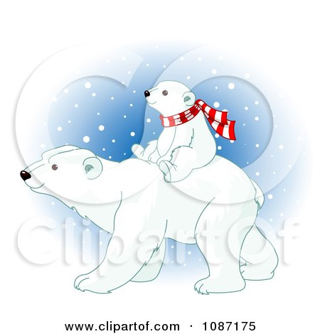 Clipart Baby Polar Bear Cub Riding On His Mothers Back And Wearing A Scarf - Royalty Free Vector Illustration by Pushkin