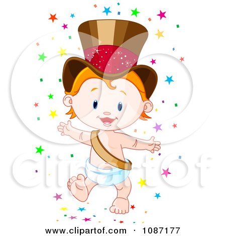 Clipart Happy New Year Baby Wearing A Gold Top Hat And Surrounded By Stars - Royalty Free Vector Illustration by Pushkin