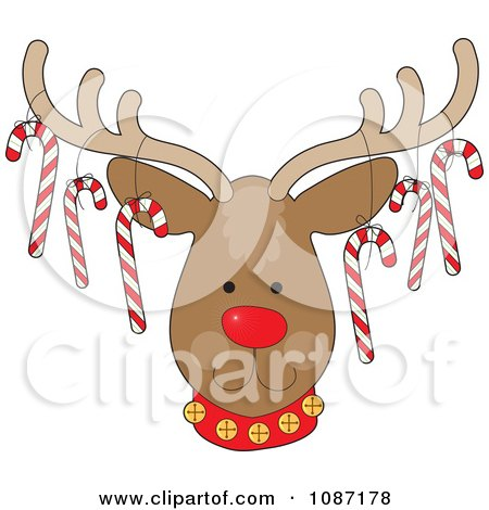 Clipart Rudolph The Christmas Reindeer With Candy Canes Hanging From His Antlers - Royalty Free Vector Illustration by Maria Bell