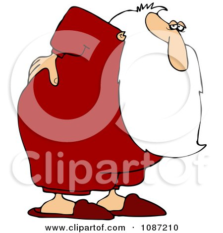 Clipart Santa With An Aching Back - Royalty Free Vector Illustration by djart