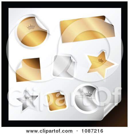 Clipart 3d Peeling Gold And Silver Rectangle Round Square And Star Stickers - Royalty Free Vector Illustration by TA Images
