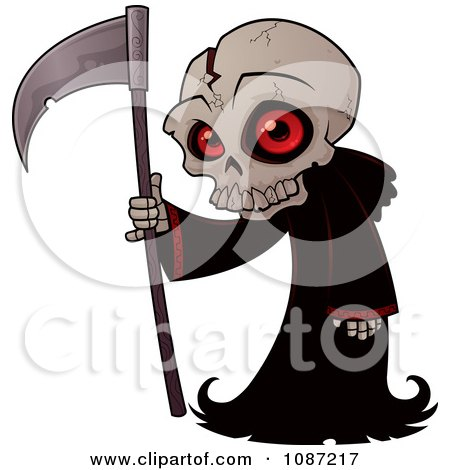 Clipart Small Grim Reaper With A Cracked Skull And Black Cloak - Royalty Free Vector Illustration by John Schwegel