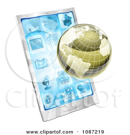 Clipart 3d Metallic Globe And Rays Over A Cell Phone - Royalty Free Vector Illustration by AtStockIllustration