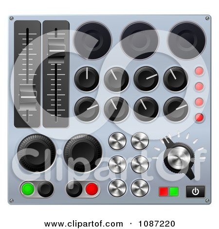 Clipart 3d Mixing Console Sound Board Buttons - Royalty Free Vector Illustration by AtStockIllustration