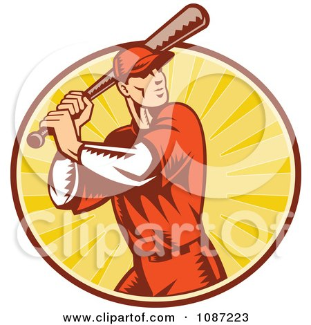 Clipart Retro Baseball Player Batting Over Rays Royalty Free Vector Illustration