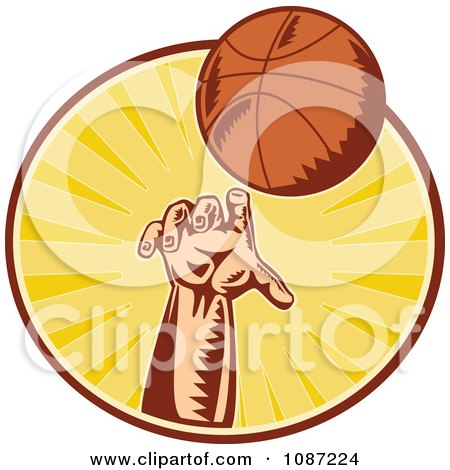 Clipart Retro Basketball Player Throwing A Ball Over Rays - Royalty Free Vector Illustration by patrimonio