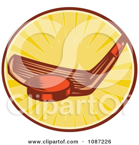 Clipart Retro Hockey Stick Hitting A Puck Over Rays - Royalty Free Vector Illustration by patrimonio