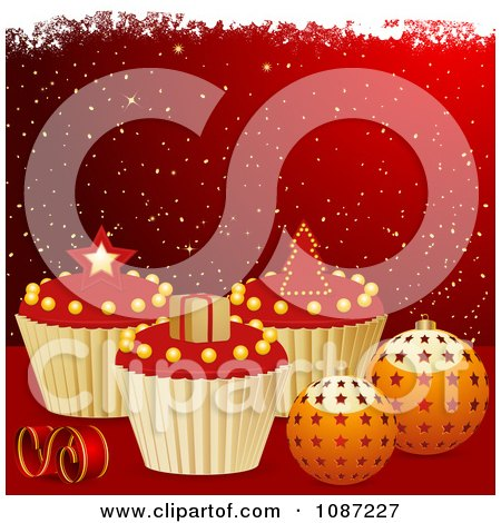 Clipart Red And Gold Christmas Background With 3d Cupcakes And Baubles - Royalty Free Vector Illustration by elaineitalia