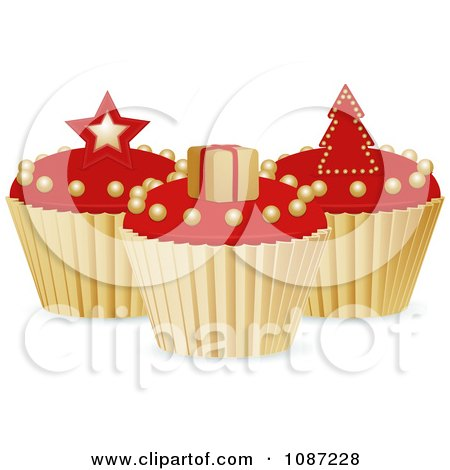 Clipart 3d Red And Gold Christmas Cupcakes With A Star Gift And Tree - Royalty Free Vector Illustration by elaineitalia