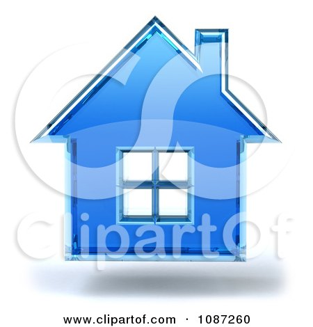 Clipart 3d Blue Glass House Floating, on a White Background - Royalty Free CGI Illustration by Julos