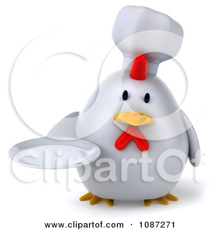 Clipart 3d Chubby Chef Chicken Holding A Plate 1 - Royalty Free CGI Illustration by Julos