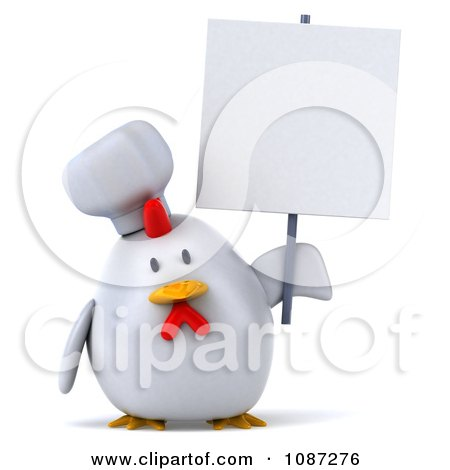 Clipart 3d Chubby Chef Chicken With A Sign 3 - Royalty Free CGI Illustration by Julos