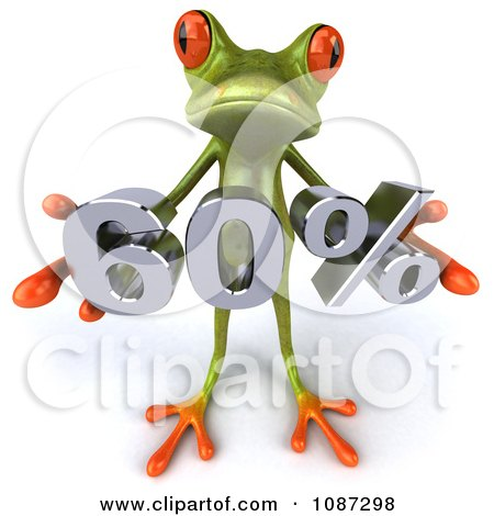 3d Green Springer Frog Holding A 60 Percent Discount Posters, Art Prints