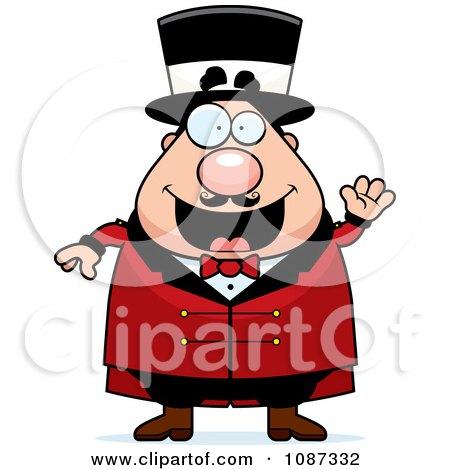 Clipart Friendly Chubby Circus Ring Master Waving Royalty Free Vector Illustration