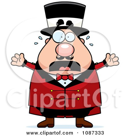 Clipart Stressed Chubby Circus Ring Master Freaking Out - Royalty Free Vector Illustration by Cory Thoman