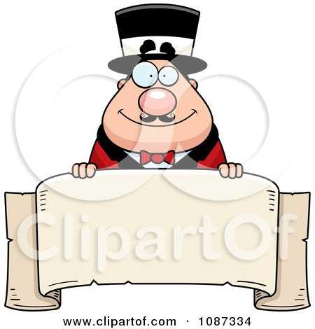 Clipart Chubby Circus Ring Master Holding A Banner - Royalty Free Vector Illustration by Cory Thoman